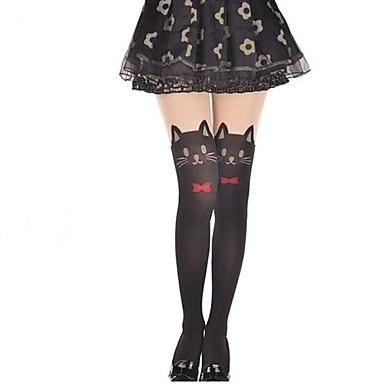 Strümpfe / Strumpfhosen Oberschenkellange Socken Niedlich Lolita Damen Lolita Accessoires Solide Katze Schleife Strümpfe Samt Halloween Kostüme / Hochelastisch