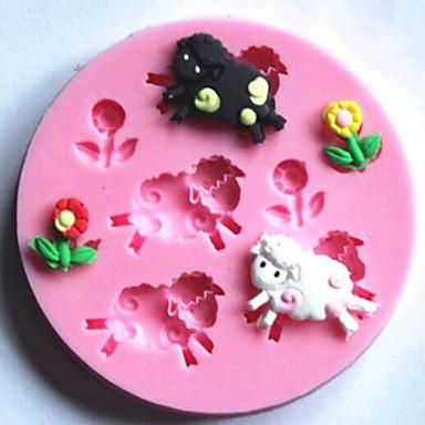 schapen en bloemen fondant taart siliconen mal taart decoratie gereedschappen, l7.7cm * w7.7cm * h1cm