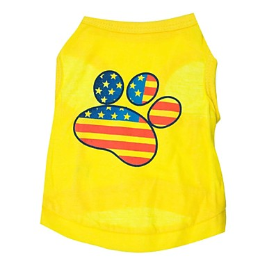 cheap Dog Clothing & Accessories-Cat Dog Shirt / T-Shirt Dog Clothes American / USA Yellow Cotton Costume For Spring &  Fall