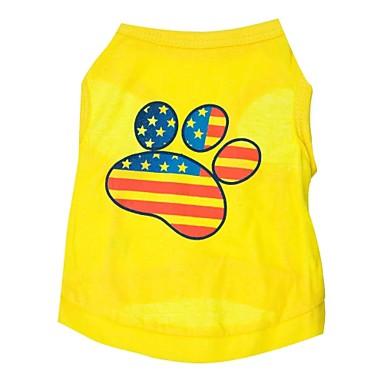 Кошка Собака Футболка Одежда для собак Американский / США Желтый Хлопок Костюм Для домашних животных