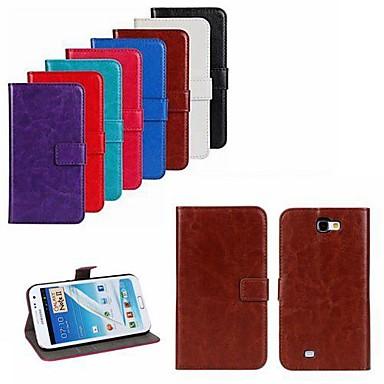 Hülle Für Samsung Galaxy Samsung Galaxy Note Kreditkartenfächer / mit Halterung / Flipbare Hülle Ganzkörper-Gehäuse Solide PU-Leder für Note 2