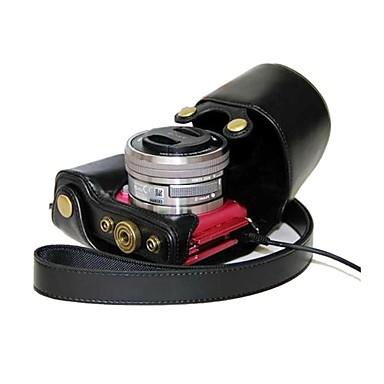 pajiatu® pu lederen camera case tas hoes met poort opladen voor Sony Alpha a5100 ilce-5100l A5000 ilce-5000 nex-3n