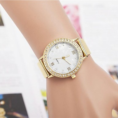 Жен. Повседневные часы Кварцевый Горячая распродажа Нержавеющая сталь Группа Блестящие Золотистый