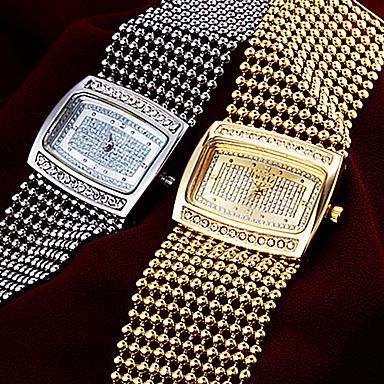 Bayanların Japonca Quartz Bakır Bant Zarif Lüks Gümüş Altın Rengi Altın Gümüş