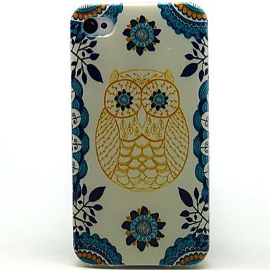 teste padrão da coruja couro pu caso de corpo inteiro com slot para cartão e ficar para o iphone 4s