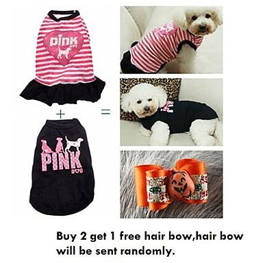 Γάτα Σκύλος Φορέματα Ρούχα για σκύλους Καθημερινά Ριγέ Μαύρο Ροζ Στολές Για κατοικίδια