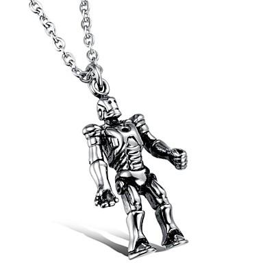 Punk Vintage Titanium Steel Robot Pendant Men's Necklace