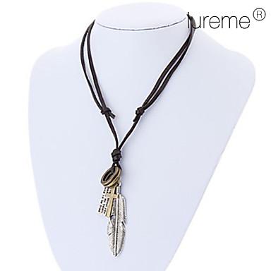 lureme®unisex pena colar ajustável de couro pingente cruz