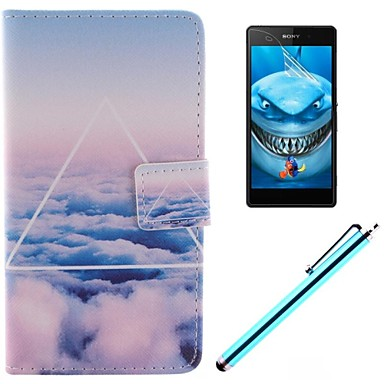 μόνο όμορφη σχεδίαση σύννεφο PU δερμάτινη θήκη πλήρη σώμα με προστατευτικό οθόνης, γραφίδα και να σταθεί για Sony Xperia m2