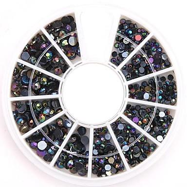 διάφορα μεγέθη μαύρο ab τέχνη νυχιών κρύσταλλο ακρυλικό στρας glittery κοσμήματα νυχιών diy για το σχεδιασμό των νυχιών