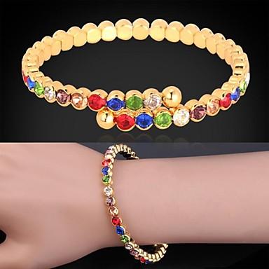 Dames Synthetische Diamant Strass Verguld Gesimuleerde diamant Bedelarmbanden Cuff armbanden Tennis Armbanden - Luxe leuke Style