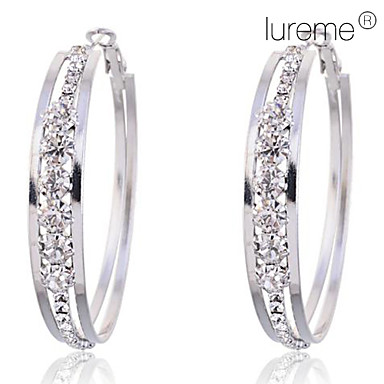 Women's Crystal Imitation Diamond Hoop Earrings - Circle Earrings For Party Daily