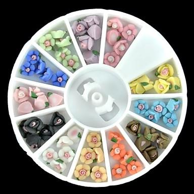 60pcs 12-χρώμα πολυμερές πολύχρωμα τριαντάφυλλο καρφί τέχνη διακόσμησης