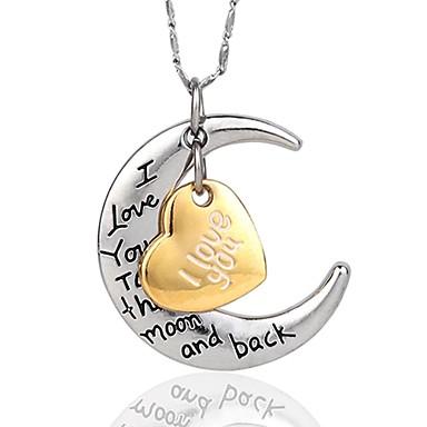 Mulheres MOON Coração Personalizada Amor Colares com Pendentes Prata Chapeada Chapeado Dourado Colares com Pendentes , Festa Aniversário
