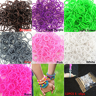 600pcs Pure Color DIY twistz silikonske gume bendovi za duge Loom narukvice s S-isječci (assorted boja)