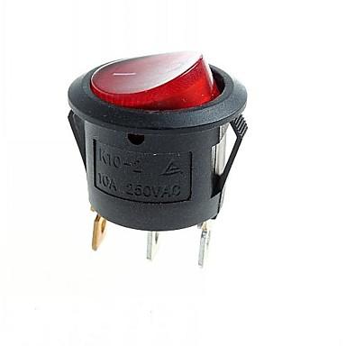3-контактный переключатель DIY рок модули ж / красный светодиод - черный (10шт)