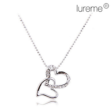 lureme®alloy 지르콘 이중 심장 펜던트 목걸이 (모듬 색상)