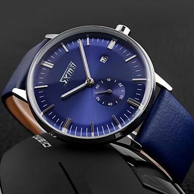 저렴한 남성용 시계-SKMEI 남성용 손목 시계 석영 가죽 블랙 / 블루 / 브라운 30 m 방수 달력 요일 아날로그 참 클래식 - 블랙 브라운 블루 2 년 배터리 수명