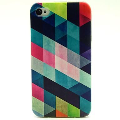 vierkant patroon pu leer full body case met kaartslot en staan voor iPhone 4s