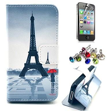 Πύργος του Άιφελ και το κορίτσι μοτίβο PU δερμάτινη θήκη με προστατευτικό οθόνης και βύσμα σκόνης για το iphone 4 / 4s