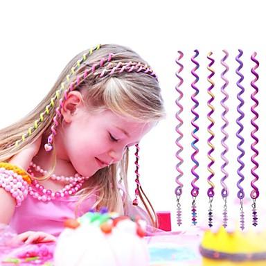 Corda cabelo encaracolado 6pcs 24 centímetros violeta infantil