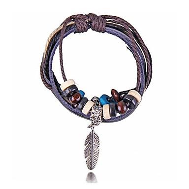 plumes métalliques de perles de bois bracelets en cuir (Hualuo bijoux)