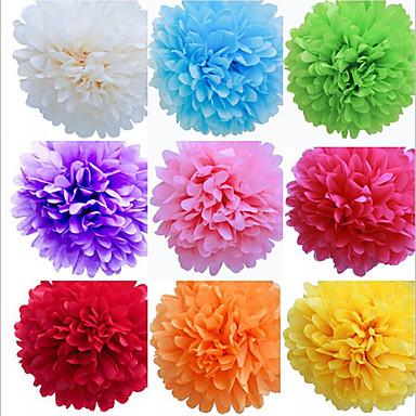 8 inç kağıt mendil pom poms düğün dekor kraft kağıt çiçekler düğün (4 set)