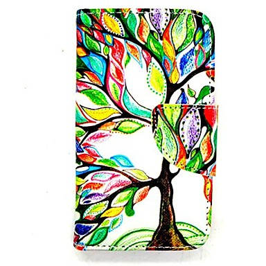 karzea ™ leven boom pu leer TPU terug schilderij kaarthouder portemonnee geval met ovale gesp voor iPhone 4 / 4s