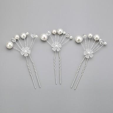 Mulheres Menina das Flores Liga Imitação de Pérola Acrilíco Capacete-Casamento Ocasião Especial Alfinete de Cabelo 3 Peças