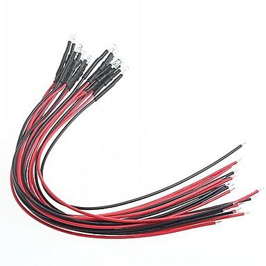 diy indicador de modificação do carro luz vermelha 5 milímetros lâmpadas led multicolor (12v) (10 peças)