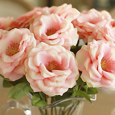 2 stks / set roze europese stijl olieverf gevoel rose kunstbloemen