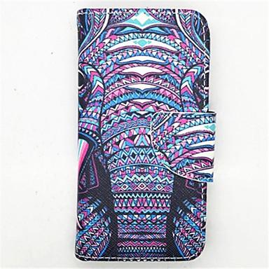 Voor Samsung Galaxy hoesje Kaarthouder / met standaard / Flip / Patroon hoesje Volledige behuizing hoesje Olifant PU-leer Samsung S4 Mini
