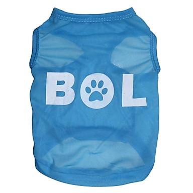 Gato Cachorro Camiseta Roupas para Cães Carta e Número Azul Ocasiões Especiais Para animais de estimação