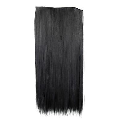 24 polegadas 120g longo clipe reta sintético preto em extensões de cabelo com 5 clips