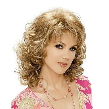 Synthetische Perücken Locken Blond Mit Pony Synthetische Haare Blond Perücke Damen Mittlerer Länge Kappenlos Braun mit Blond
