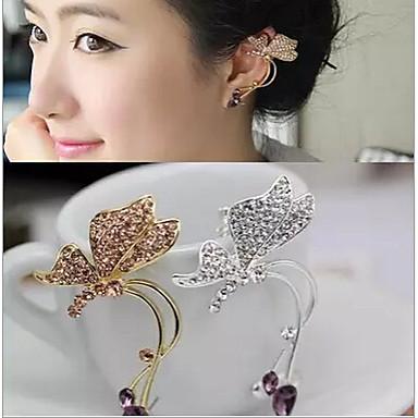Dames Vlinder Strass Oor manchetten - Zilver Gouden Dier oorbellen Voor Bruiloft Feest Dagelijks