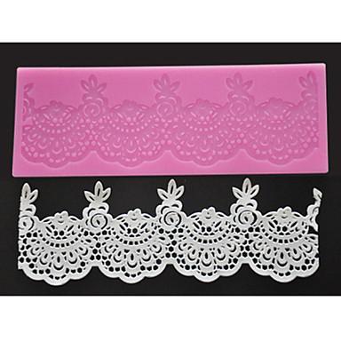 Dört-c şeker zanaat araçları silikon dantel mat tatlı dantel dekorasyon pedi, silikon mat fondan kek araçları renk pembe