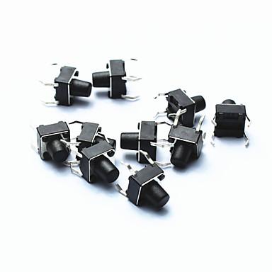 PA66 DC 12V 50mA tact schakelaar - zwart (10-delig pak / 6 x 6 x 5 mm)