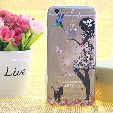 bloemenmeisje patroon TPU opluchting dunne transparante all inclusive Cover Case voor iPhone 6s plus / 6 plus