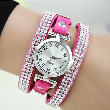 Kadın's Quartz Bilek Saati Bilezik Saat imitasyon Pırlanta Deri Bant İhtişam Gül