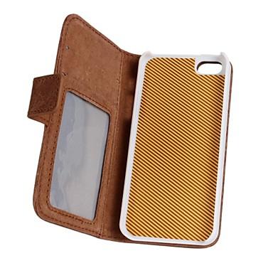 Voor iPhone 5 hoesje Portemonnee / Kaarthouder / met standaard / Flip hoesje Volledige behuizing hoesje Effen kleur Hard PU-leeriPhone