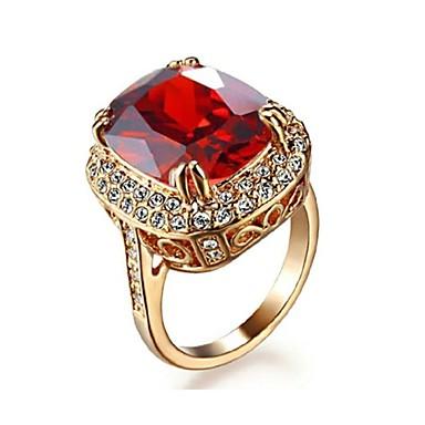 Kadın's Bildiri Yüzüğü - Kristal, Altın Kaplama Moda 7 / 8 / 9 Uyumluluk Düğün / Parti / Günlük