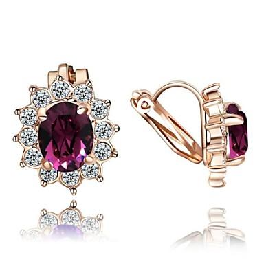 Kadın's Kristal Klipsli Küpeler - Kristal, Zirkon, Kübik Zirconia Çiçek Mor / Yeşil Uyumluluk Düğün Parti Günlük / Altın Kaplama