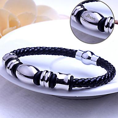 Gepersonaliseerde sieraden RVS/Leer - zilver/zwart - Armbanden -