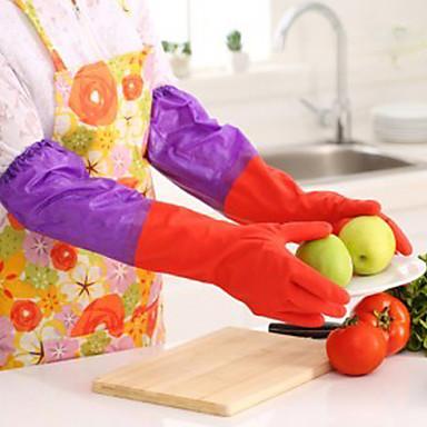 Mangas compridas de 50 cm luvas de látex de borracha cozinha pratos de lavagem limpeza à prova d'água