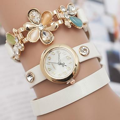 yoonheel Mulheres Relógio de Moda / Bracele Relógio Couro Banda Flor / Boêmio Preta / Branco / Azul