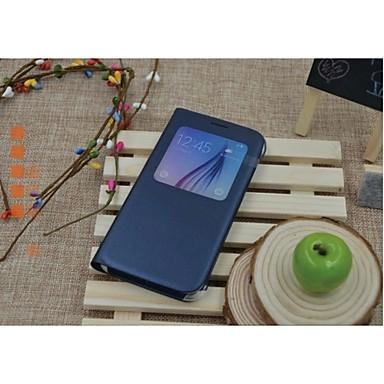 Για Samsung Galaxy Θήκη με παράθυρο / Αυτόματη αδράνεια/αφύπνιση / Ανοιγόμενη tok Πλήρης κάλυψη tok Μονόχρωμη Συνθετικό δέρμα Samsung S6