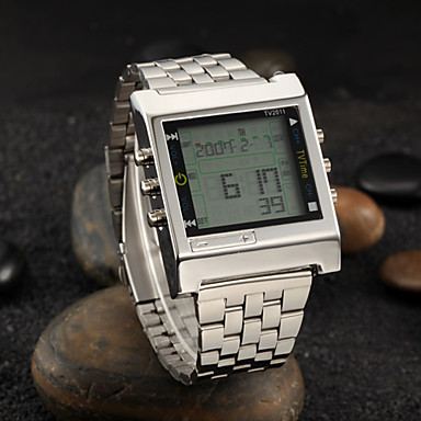 Men's Wrist watch Digital Alarm Calendar / date / day Remote Control / RC LED Stopwatch Stainless Steel Band Silver