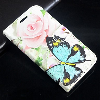 rosa teste padrão de borboleta de couro pu virar caso de proteção com pressão magnética e slot para cartão para o iphone 5c