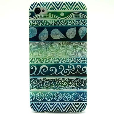 groene folk stijl patroon ultradunne TPU zachte hoes voor de iPhone 4 / 4s